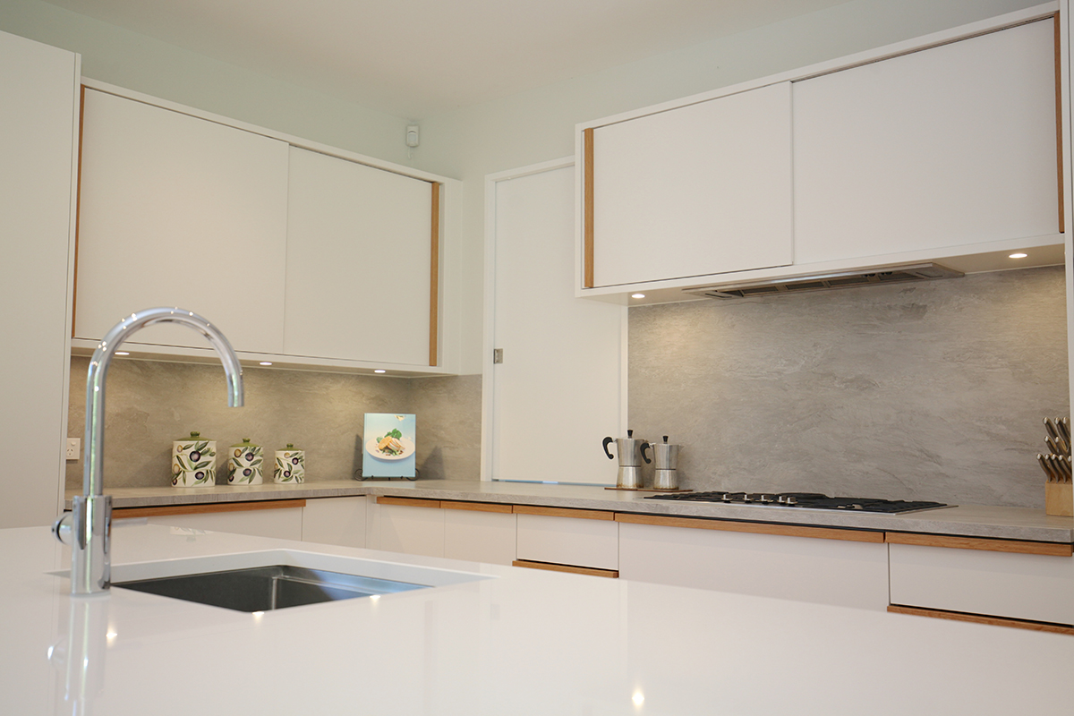 Reconfigured custom Kitchen and Laundry in St Heliers